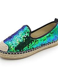 cheap -Women's Loafers & Slip-Ons Comfort Summer PU Casual Dress Sequin Flat Heel Blue Black Flat