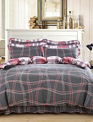 cheap -Luxury 4 Piece Cotton Print Cotton 1pc Duvet Cover 2pcs Shams 1pc Bedskirt
