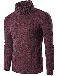 cheap -Men's Daily Work Regular Pullover,Solid Turtleneck Long Sleeves Cotton Spandex Winter Fall Thick Stretchy