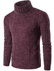 Standard Pullover Da uomo-Casual Ufficio Tinta unita A collo alto Manica lunga Cotone Elastene Autunno Inverno Spesso Elasticizzato