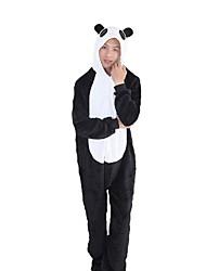 cheap -Kigurumi Pajamas Panda Onesie Pajamas Costume Flannel Fabric Black/White Cosplay For Adults' Animal Sleepwear Cartoon Halloween Festival