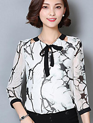 cheap -Women's Daily Casual Blouse,Print Shirt Collar 3/4 Length Sleeves Others