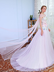 cheap -Ball Gown Strapless Sweep / Brush Train Tulle Prom Wedding Party Dress with Beading by SG