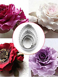 4Pcs Stainless Steel Rose Leaf Sawtooth Cake Mold Cutters Fondant Cupcake Chocolate Sugar Craft Decorating Mould Baking Tool