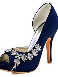 baratos -Mulheres Sapatos Cetim com Stretch Primavera / Verão Plataforma Básica Saltos Salto Agulha Peep Toe Cristais Roxo Escuro / Vinho / Ivory / Casamento