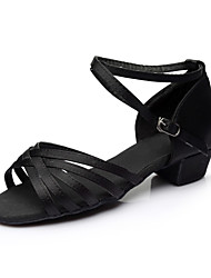 Women's Latin Silk Flats Indoor Buckle Customized Heel Black Customizable