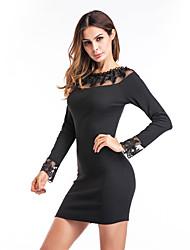 Damen Bodycon Kleid-Festtage Ausgehen Lässig/Alltäglich Klub Solide Rundhalsausschnitt Mini Langarm Polyester Herbst Winter Hohe Hüfthöhe