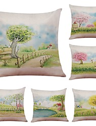 cheap -Set of 6 Korean Landscape Illustration  Linen Cushion Cover Home Office Sofa Square Pillow Case Decorative Cushion Covers Pillowcases (18*18Inch)