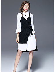 Women's Going out Cute Sheath Dress,Patchwork Shirt Collar Knee-length Long Sleeves Polyester Fall Mid Rise Micro-elastic Medium