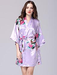abordables -Satin & Soie Robe de chambre Vêtement de nuit Femme - Imprimé, Fleur