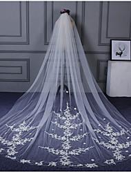 Wedding Veil Two-tier Elbow Veils Cathedral Veils Cut Edge Lace Applique Edge Lace Tulle