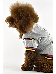 cheap -Dog Shirt / T-Shirt Hoodie Dog Clothes Casual/Daily Stripe Gray Yellow Fuchsia Coffee Costume For Pets