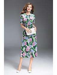cheap -MMLJ Women's Going out Cute Sheath Dress,Print Round Neck Midi Short Sleeves Polyester Fall Mid Rise Micro-elastic Medium