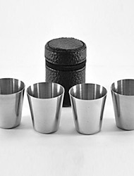 cheap -4Pcs Stainless Steel Cup Beer Wine Water Mug Portable Camping Picnic Cup 30ml