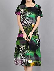 Недорогие -Жен. Шинуазери (китайский стиль) А-силуэт Свободный силуэт Платье - Однотонный Цветочный принт С высокой талией