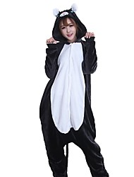 cheap -Kigurumi Pajamas Mouse / Cat Onesie Pajamas Costume Flannel Fabric Black Cosplay For Adults' Animal Sleepwear Cartoon Halloween Festival