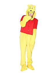 cheap -Kigurumi Pajamas with Slippers Bear Onesie Pajamas Costume Flannel Fabric Cosplay For Adults' Animal Sleepwear Cartoon Halloween Festival