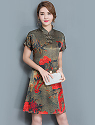 cheap -Women's Party Daily Holiday Going out Vintage Street chic Sophisticated Loose Dress,Floral Stand Knee-length Short Sleeves Polyester