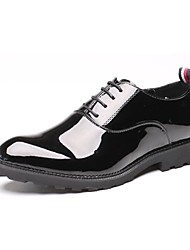 cheap -Men's Shoes Patent Leather Spring Fall Formal Shoes Comfort Oxfords Lace-up for Wedding Casual Black