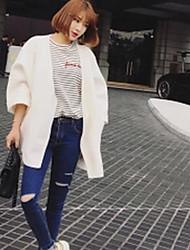 Damen Solide Einfach Lässig/Alltäglich Mantel,V-Ausschnitt Frühling Lange Ärmel Standard Nylon
