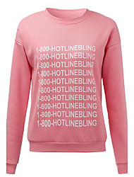 Women's Casual Letter Printing Long-sleeved Pink Sweater Round Neck Cashmere T-shirt