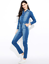 Women's High Rise Going out Casual/Daily Classic Fashion Lace Up JumpsuitsSimple Street chic Slim Denim Solid Spring Fall