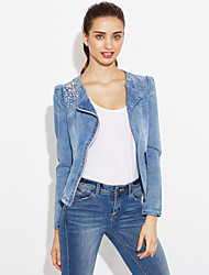 cheap -Women's Work Denim Jacket - Solid, Pure Color Shirt Collar