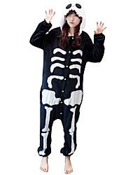 abordables -Pyjama Kigurumi  Squelette Fantôme Combinaison Pyjamas Costume Molleton Noir blanc Cosplay Pour Adulte Pyjamas Animale Dessin animé