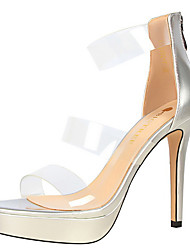 Women's Sandals Comfort Summer Fall Leatherette Dress Party & Evening Stiletto Heel Beige Ruby Green Blushing Pink Almond 4in-4 3/4in