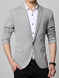 Men's Casual/Daily Simple Spring Fall Blazer,Solid Shirt Collar Long Sleeve Regular Cotton