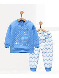 cheap -Baby Children's Casual/Daily Geometic Clothing Set, Cotton Winter Fall Blue Yellow