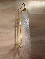 cheap -Contemporary Luxury Glam High Quality Wall Mounted Rain Shower Wall Mount Ceramic Valve Two Handles Two Holes Ti-PVD, Shower Faucet
