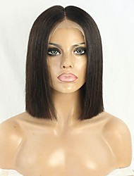 cheap -100% human Hair 150% Density Blunt Cut Bob Wig Lace Front Wig Short Straight Human Hair Wig 10inch Natural color