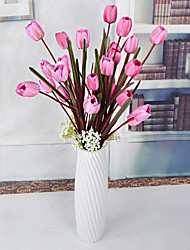 1 Branch Plastic Roses Lilies Plants Tabletop Flower Artificial Flowers Living Room Bedroom Decoration Flower Pastoral Style Wedding Supplies 7 Head