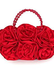 economico -Donna Sacchetti Raso/Satin Pochette Con applique Fiori di raso Fiocco in satin Fantasia floreale Pieghettato Petali Metallico Con ruche
