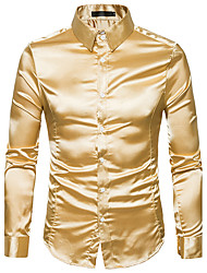cheap -Men's Daily Street chic Shirt,Solid Shirt Collar Long Sleeves Polyester