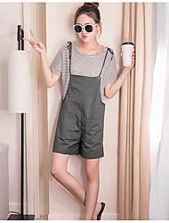 レディース カジュアル/普段着 夏 Tシャツ(21) パンツ スーツ,シンプル ラウンドネック ソリッド ストライプ 半袖