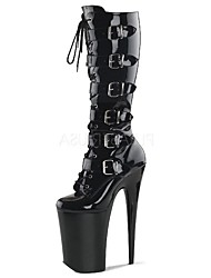 cheap -Women's Boots Fashion Boots Winter PU Party & Evening Buckle Lace-up Stiletto Heel Black 5in & over