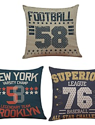 Set of 3  Alphanumeric Linen Cushion Cover Home Office Sofa Square Pillow Case Decorative Cushion Covers Pillowcases Without Insert(18*18Inch)