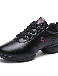 abordables -Mujer Zapatillas de Baile PU microfibra sintético Zapatilla Corte Tacón Cuadrado Zapatos de baile Blanco / Negro