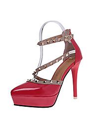preiswerte -Damen High Heels Pumps PU Frühling Kleid Party & Festivität Schnalle Stöckelabsatz Weiß Schwarz Rot Mandelfarben 10 - 12 cm