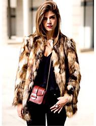 preiswerte -Damen Leopard Einfach Lässig/Alltäglich Ausgehen Pelzmantel,Rundhalsausschnitt Herbst Winter Lange Ärmel Standard Kunst-Pelz Acryl