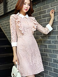 cheap -Women's Party Daily Holiday Going out Work Club Vintage Sexy Sophisticated A Line Lace Dress,Solid Shirt Collar Above Knee 3/4 Length