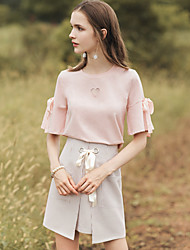 cheap -Women's Daily Going out Vintage Cute Casual Summer T-shirt,Solid Round Neck Short Sleeves Cotton Medium