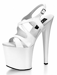 Women's Sandals Formal Shoes Summer PU Dress Party & Evening Buckle Lace-up Stiletto Heel White Black 5in & over