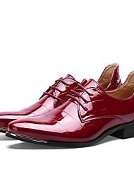 Men's Shoes Patent Leather Spring Fall Formal Shoes Driving Shoes Oxfords Lace-up For Wedding Casual Party & Evening Office & Career