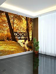 Árvores/Folhas 3D Clássico Papel de Parede Para Casa Contemprâneo Pastoril Estilo Revestimento de paredes , Tela Materialadesivo