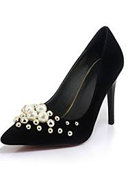 Women's Heels Gladiator Basic Pump Spring Fall Velvet Wedding Party & Evening Dress Beading Imitation Pearl Stiletto Heel Black Ruby
