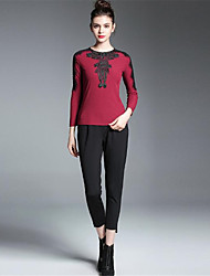 cheap -ZIYI Women's Daily Casual Blouse,Solid Round Neck Long Sleeves Cotton Polyester Spandex