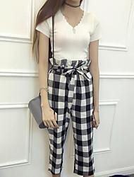 Women's Summer T-shirt Pant Suits,Grid/Plaid Patterns V Neck Short Sleeve
